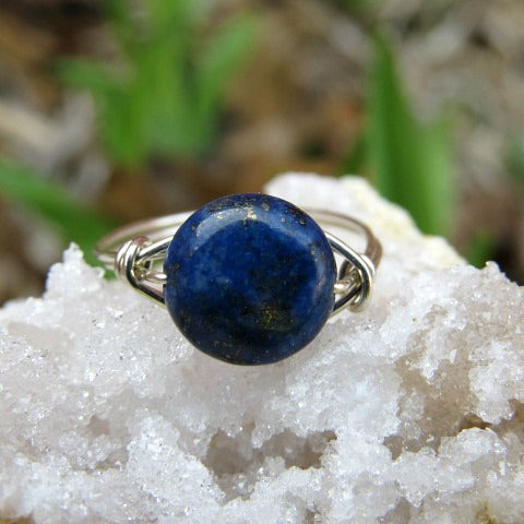 Lapis Lazuli Ring - Wire Wrapped Crystal Ring