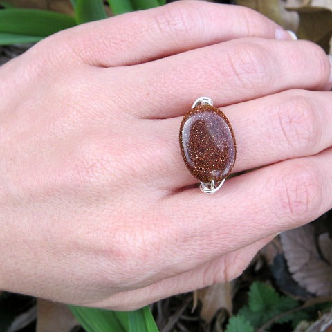Goldstone Wire Wrapped Ring