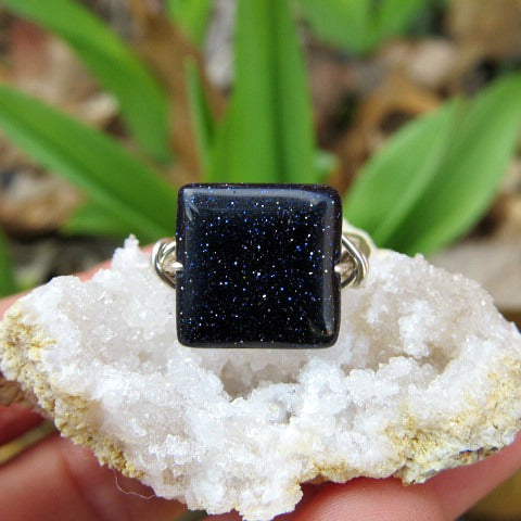 Blue Goldstone Crystal Ring - Wire Wrapped Stone Ring - Square Shaped Stone