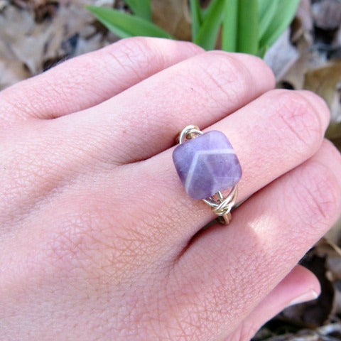 Purple Chevron Amethyst Ring - Wire Wrapped Stone Ring