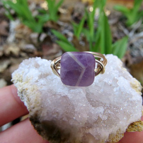 Purple Chevron Amethyst Ring - Silver Wire Wrapped Stone Ring