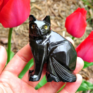 Carved Stone Black Calcite Cat Figurine - Crystal Animal Statue