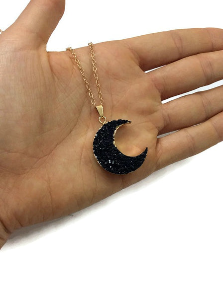 Large Faux Black Druzy Crescent Moon Crystal Necklace | Celestial Jewelry