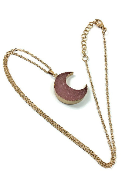 Faux Druzy Crescent Moon Crystal Necklace - Chain