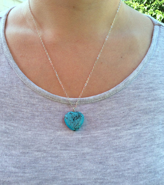 Turquoise Blue Stone Heart Howlite Necklace