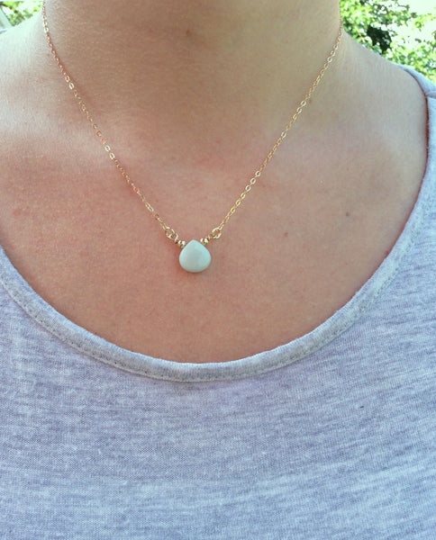 Aqua Blue Chalcedony Necklace Crystal Choker - On Model