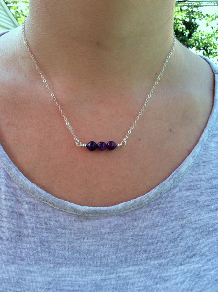3 Stone beaded Amethyst Crystal Necklace