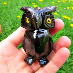 Carved Owl Crystal Figurine - Black Calcite Shamanite Owl Animal Statue