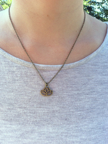 Brass Lotus Flower Necklace Spiritual Symbol - On Model