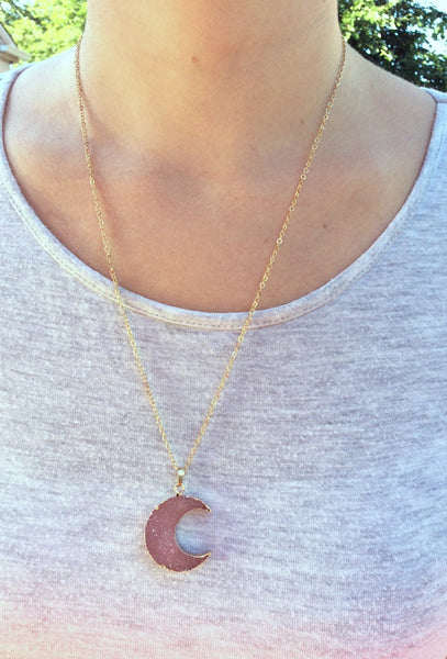 Pink Crescent Moon Necklace - On Model