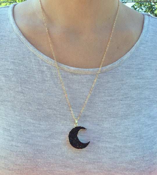 Faux Black Druzy Moon Crystal Necklace - Model