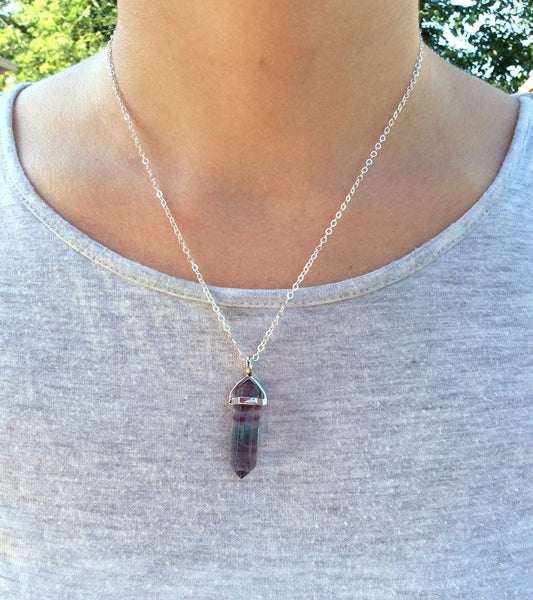 Rainbow Fluorite Necklace | Crystal Point Necklace