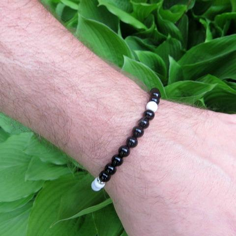 Yin Yang Bracelet - Black White Healing Stone Bracelet for Men