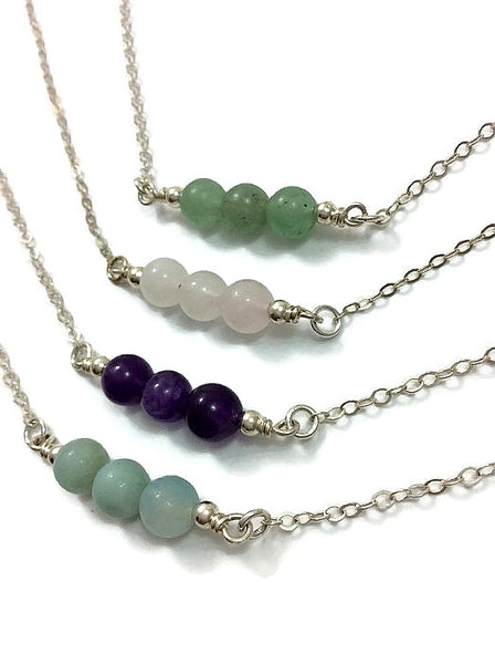 Three Stone Beaded Crystal Necklace | Gemstone Choker Crystal Necklace