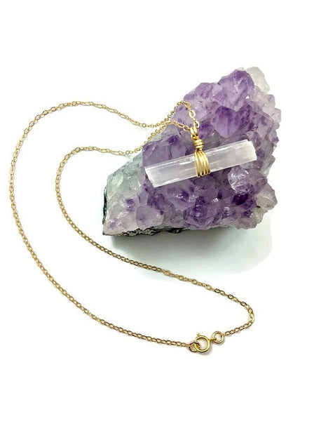 Crystal Stone Selenite Necklace - Gold Filled Chain