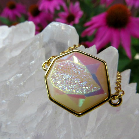 White Rainbow Aura Druzy Necklace - Angel Aura Necklace