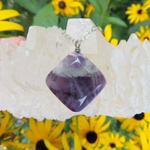 Chevron Amethyst Crystal Necklace - Diamond Shaped Stone
