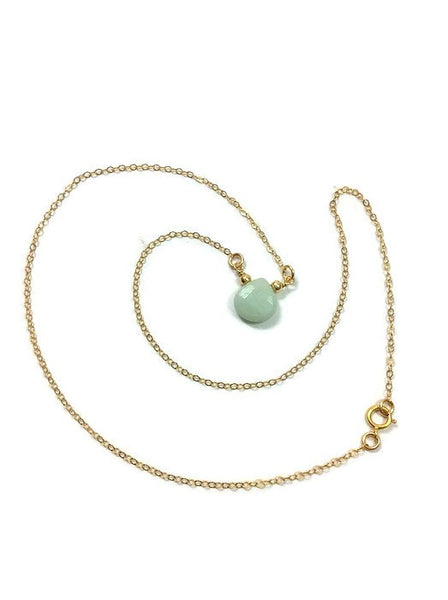 Aqua Blue Chalcedony Necklace Crystal Choker - Chain