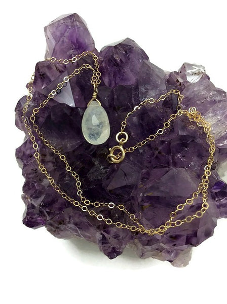 Rainbow Moonstone Necklace - Gold Chain
