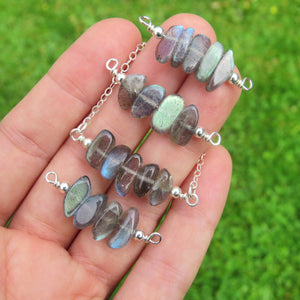 Labradorite Crystal Necklaces in Sterling Silver  - Labradorite Jewelry