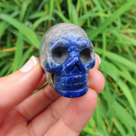 Small Carved Lapis Lazuli Crystal Skull Figurine