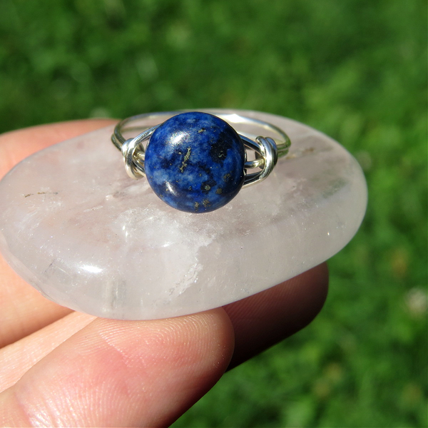 Blue Lapis Lazuli Ring - Wire Wrapped Crystal Ring