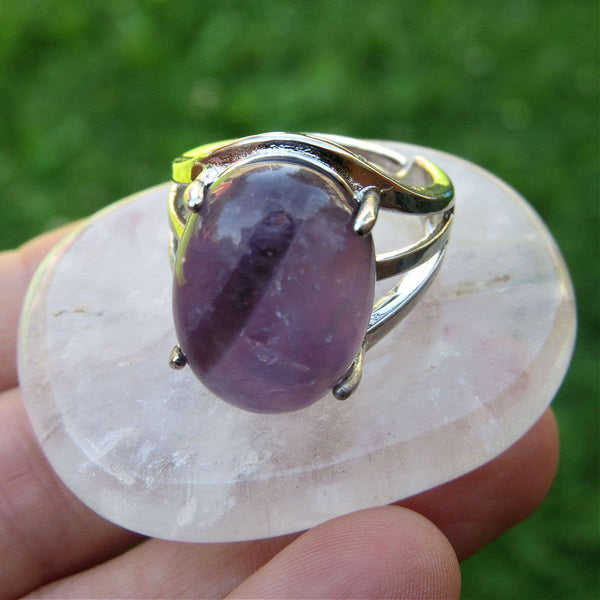 Amethyst Crystal Ring | Polished Purple Stone Ring in Silver Adjustable Band