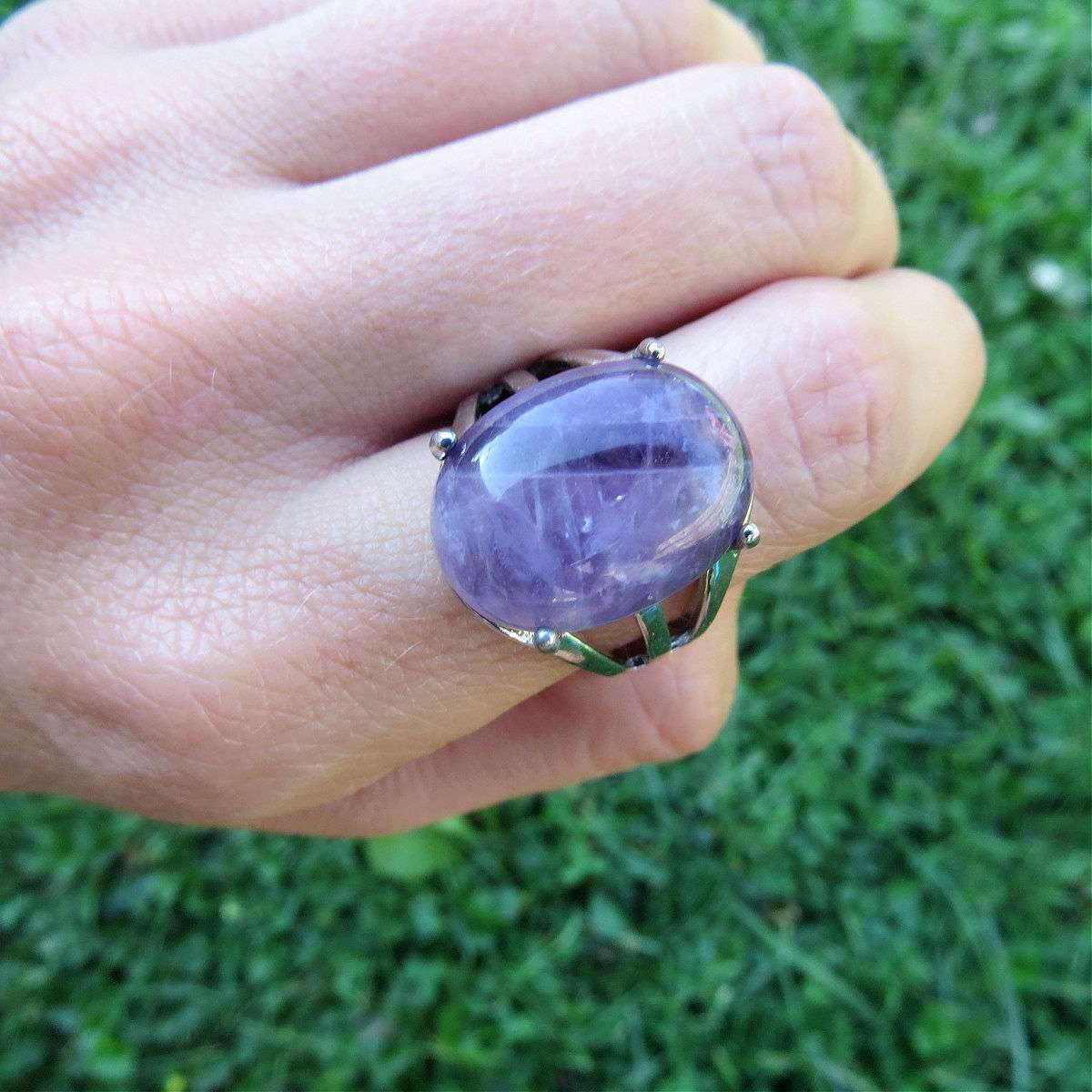 Purple Amethyst Crystal Ring in Silver - Adjustable Band