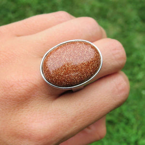 Large Red Goldstone Ring in Silver - Adjustable Band Crystal Ring