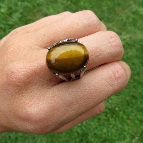 Polished Tigers Eye Crystal Ring in Silver