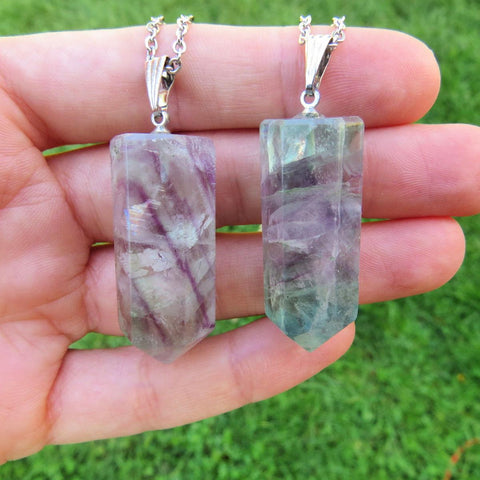 Rainbow Fluorite Crystal Point Necklace