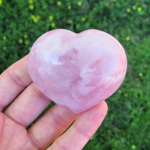 Rose Quartz Crystal Heart Stone - Pink Stone Heart - Love Stone