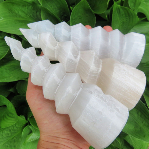 Selenite Spiral Crystal Tower 6"
