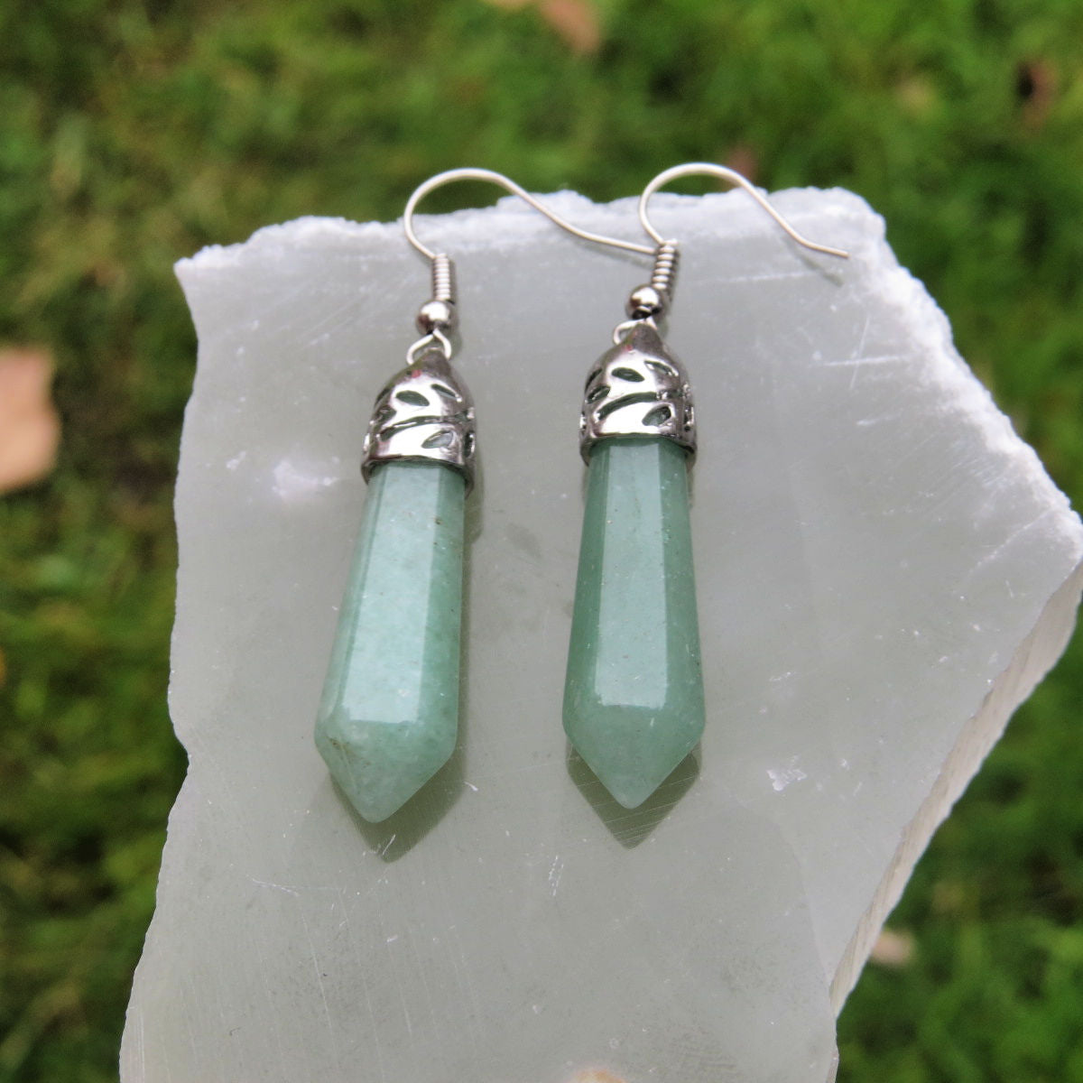 Green Aventurine Earrings in Silver - Large Crystal Point Stone Earrings
