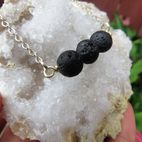 Lava Stone Diffuser Necklace - Volcanic Rock Necklace