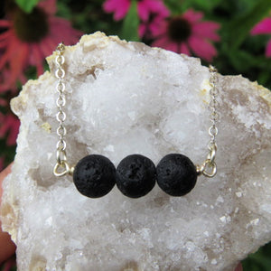 Lava Stone Diffuser Necklace - 3 Bead