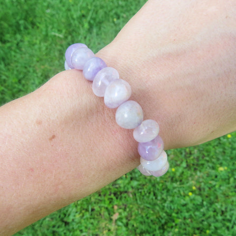 Lavender Jade Bracelet - Light Purple Beaded Stone Bracelet