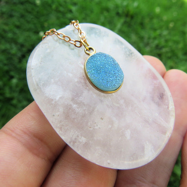 Aqua Blue Druzy Necklace - Druzy Quartz Jewelry