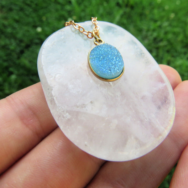 Light Blue Druzy Necklace | Crystal Choker Necklace | Druzy Jewelry