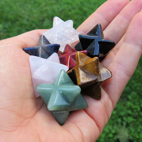 "Small Merkaba Crystal | 1"" Carved Stone Tetrahedron Star"
