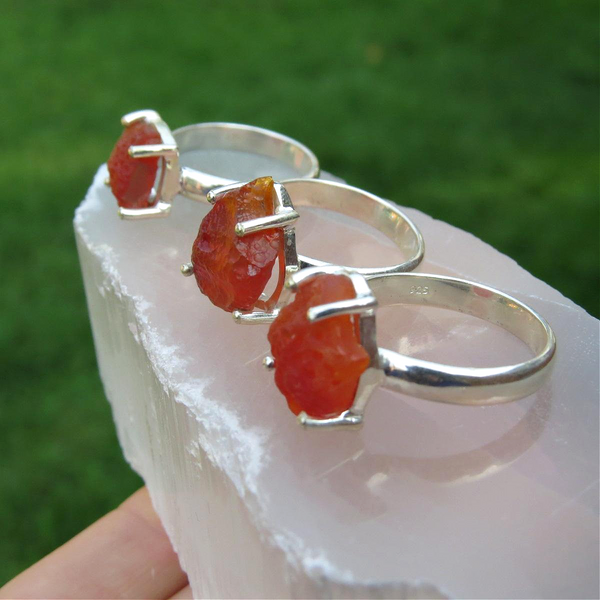 Raw Mexican Fire Opal Ring in Sterling Silver | Orange Opal Stone Ring
