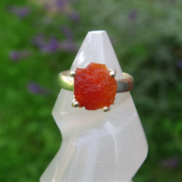 Mexican Fire Opal Ring Sterling Silver