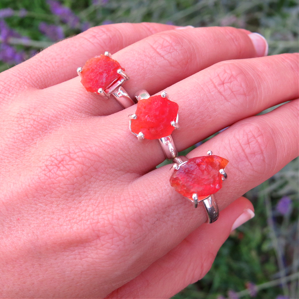 Raw Orange Mexican Fire Opal Rings in Sterling Silver