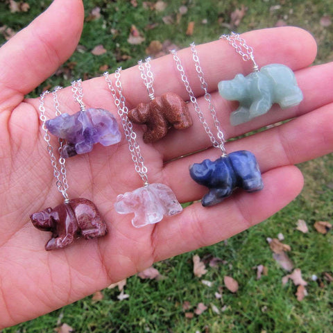 Carved Crystal Bear Necklace - Spirit Animal Bear Jewelry