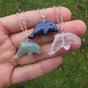 Carved Crystal Dolphin Necklace