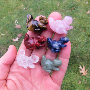 Mini Crystal Squirrel Figurine - Carved Stone Animal