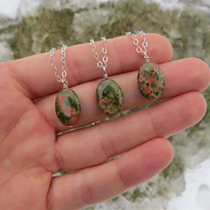 Unakite Crystal Necklace Sterling Silver