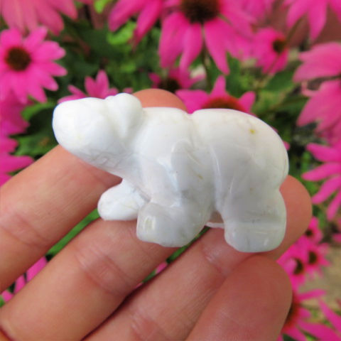 White Howlite Carved Stone Polar Bear Crystal Figurine