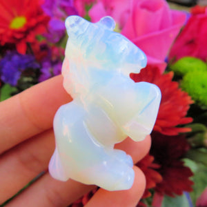 Small Opalite Crystal Unicorn Figurine - Opalescent Unicorn Statue