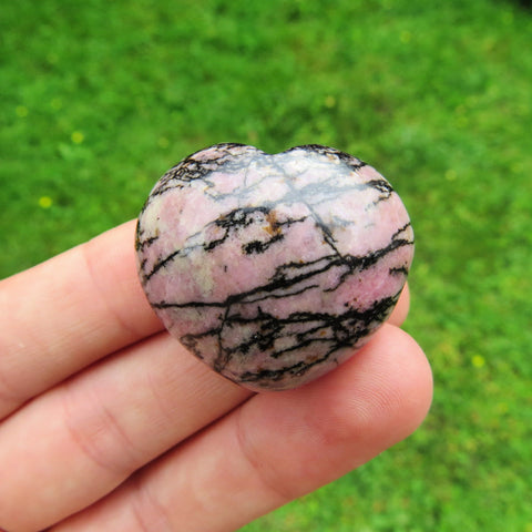 Rhodonite Crystal Heart - Pink/Black Puffy Heart Stone
